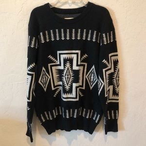 Chaser Black Cream Aztec Printed Sweater